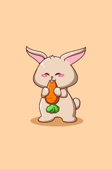 Śliczny i mały królik z ilustracją kreskówki marchewki
