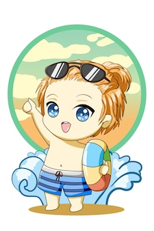 Śliczny i przystojny mały chłopiec pływający w letniej ilustracji kreskówki postaci