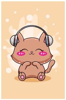 Śliczny i szczęśliwy kot z kreskówki słuchawek