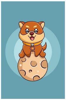 Śliczny i szczęśliwy pies na księżycu, ilustracja kreskówka zwierząt