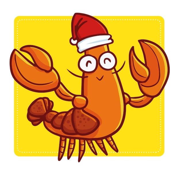 Śliczny i zabawny kawaii stary homar w czapce świętego mikołaja i uśmiechnięty na boże narodzenie