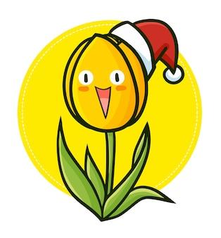 Śliczny i zabawny kawaii żółty tulipan w czapce mikołaja na boże narodzenie