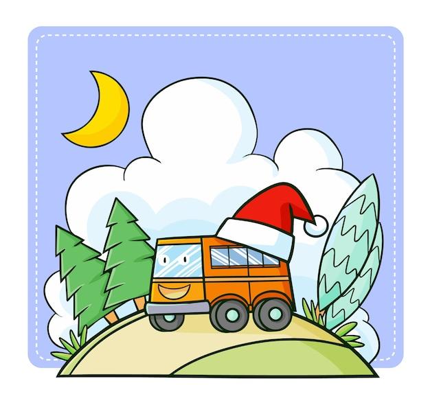 Śliczny i zabawny pomarańczowy autobus kawaii w czapce mikołaja na boże narodzenie