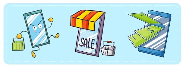 Śliczny i zabawny telefon kawaii idzie na zakupy, będąc sklepem internetowym i bankowością internetową.