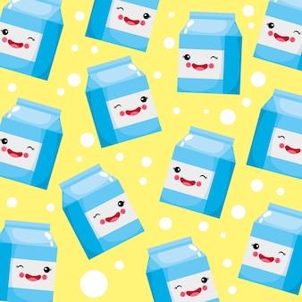 Śliczny i zabawny wzór uśmiechniętego mleka