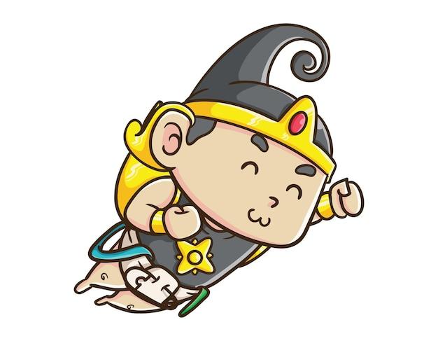 Śliczny indonezyjski bohater postać dziecka gatot kaca latająca kreskówka maskotka ilustracja