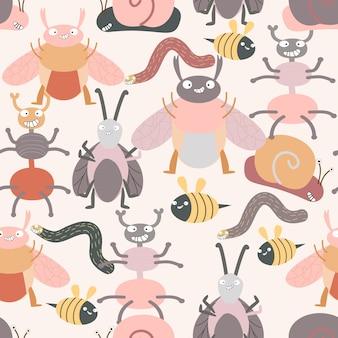 Śliczny insekta pluskwy kreskówki wzór