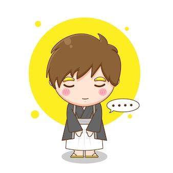 Śliczny Japoński Chłopiec Ubrany W Yukatę Premium Wektorów