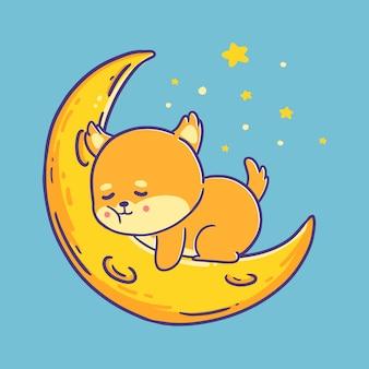 Śliczny japoński pies shiba inu śpi na ilustracji księżyca.