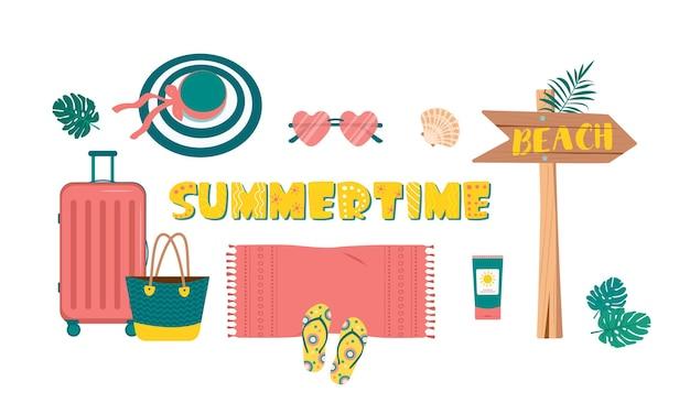Śliczny jasny zestaw letnich rzeczy na podróże i wakacje na plaży