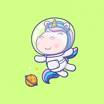 Śliczny jednorożec astronauta unoszący się na ilustracji kosmicznej