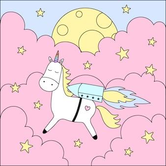 Śliczny jednorożec, chmury, księżyc, gwiazdy.