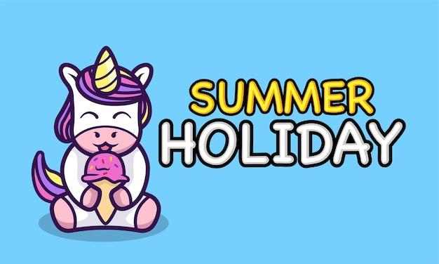 Śliczny jednorożec jedzący lody letnie wakacje banner