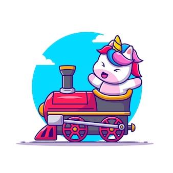 Śliczny jednorożec jeździć na kreskówka pociąg