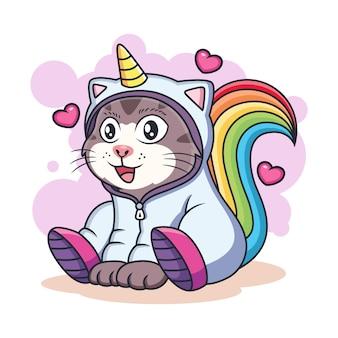 Śliczny jednorożec kot z miłością. koncepcja ikona fantasy zwierząt na białym tle premium.