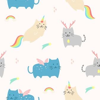 Śliczny jednorożec kot zwierzęcy bezszwowy wzór dla tapety