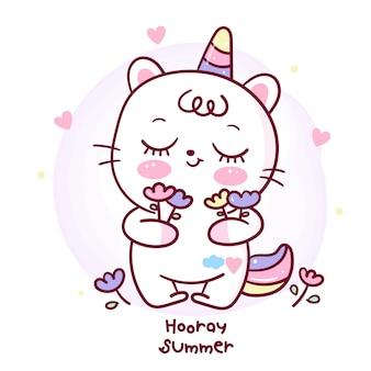 Śliczny jednorożec kota kreskówki mienia kwiat na wakacje letni