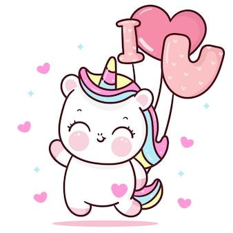 Śliczny jednorożec kreskówka holiding kocham cię balon z sercem walentynki kawaii zwierzę