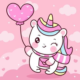 Śliczny jednorożec kreskówka holidujący balon serce i list miłosny walentynki kawaii zwierzę