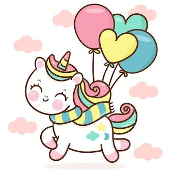 Śliczny jednorożec kreskówka nosić szalik z ręcznie rysowanym balonem kawaii