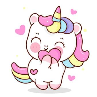 Śliczny jednorożec kreskówka przytulić słodkie serce miłość postać kawaii zwierzę