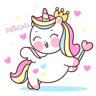 Śliczny jednorożec księżniczka pegaz kreskówka trzymając serce magiczna różdżka kawaii zwierzę