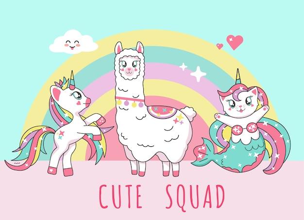 Śliczny jednorożec, lama alpaca, kot syrenka, flaming i drużyna jednorożca z napisem