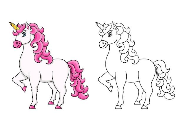 Śliczny jednorożec magiczna wróżka koń kolorowanka dla dzieci
