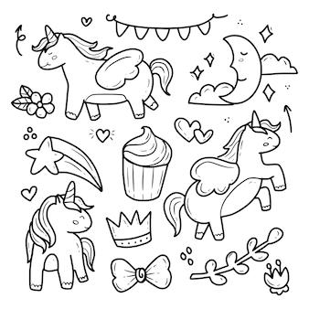 Śliczny jednorożec pegaz i ciastko ręcznie rysunek doodle zestaw kolekcji