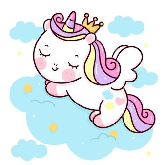 Śliczny jednorożec pegaz księżniczka kreskówka spać na zwierzęciu w chmurze kawaii