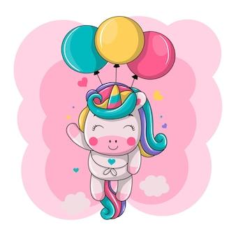 Śliczny jednorożec pływający z balonem ikona ilustracja kreskówka