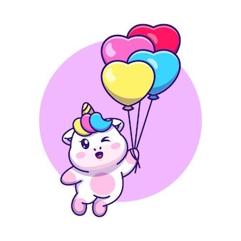 Śliczny jednorożec pływający z kreskówką balonu
