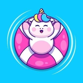 Śliczny jednorożec pływający z kreskówką z pierścieniem do pływania