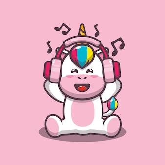 Śliczny jednorożec słuchający muzyki z ilustracją wektorową kreskówka słuchawek