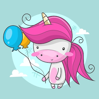 Śliczny jednorożec trzymający dwa balony