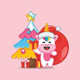 Śliczny jednorożec w boże narodzenie niosący prezent śliczna świąteczna ilustracja kreskówka