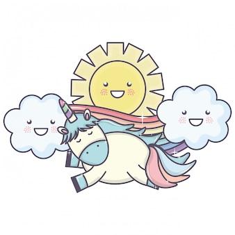 Śliczny jednorożec w tęczy z chmurami i słońcymi kawaii charakterami