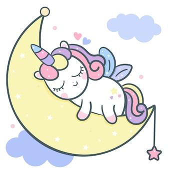 Śliczny jednorożec wektor śpi na księżycu kreskówki