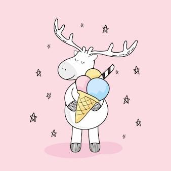 Śliczny jeleń lody stożek gelato doodle cartoon kawaii