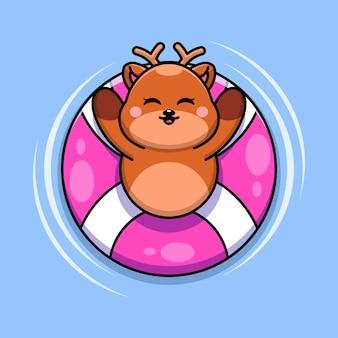 Śliczny jeleń pływający z kreskówką z pierścieniem do pływania