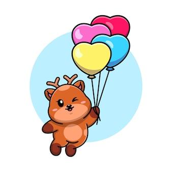 Śliczny jeleń pływający z kreskówki balonu