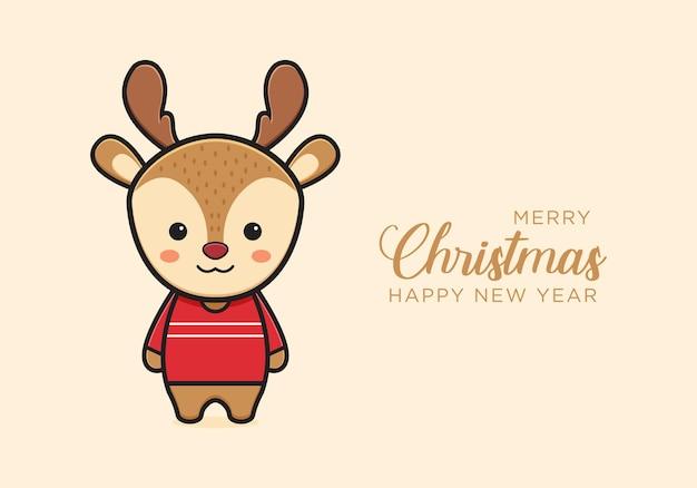 Śliczny jeleń pozdrowienie wesołych świąt i szczęśliwego nowego roku kreskówka doodle ilustracja karty