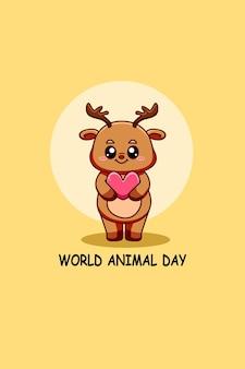 Śliczny jeleń z ilustracją kreskówki tekstu światowego dnia zwierząt