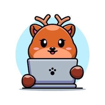 Śliczny jeleń z laptopem kreskówka projekt