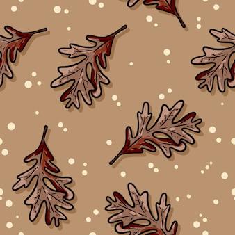 Śliczny jesień dębu liści kreskówki bezszwowy wzór.