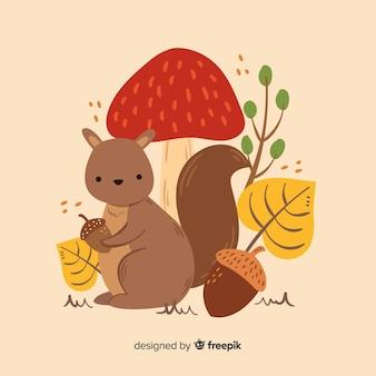 Śliczny jesieni tło z zwierzętami