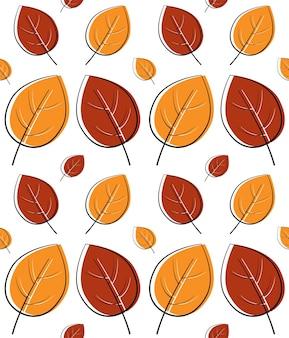 Śliczny jesienny wzór liści w ciepłych, jasnych kolorach, bezszwowe powtórzenie. modny styl płaski. doskonały do tła, projektowania odzieży i redakcji, kart, papieru do pakowania prezentów, wystroju domu itp.