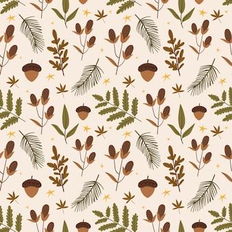Śliczny jesienny wzór z roślinami leśnymi żołędzie szyszki liście gałązka choinki jesienny nastrój