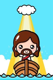 Śliczny jezus chrystus na łodzi