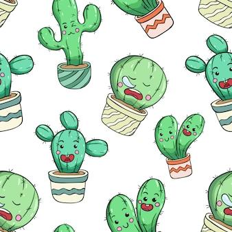 Śliczny kaktus w bezszwowym wzorze z śmieszną twarzą
